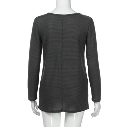 Ample Blouse Top V Gris Chic Brillant Maille Ado Femme Angelof En Pull Pull Femmes Casual Fille Bouton Col wWA4q