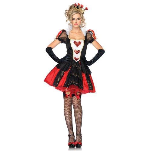 Leg Avenue Women's Dazzling Dark Queen Set, Red/Black, (Dazzling Dark Queen Of Hearts Costumes)