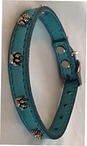 OmniPet Signature Leather Dog Collar with Paw Ornaments, Metallic Turquoise, 12""