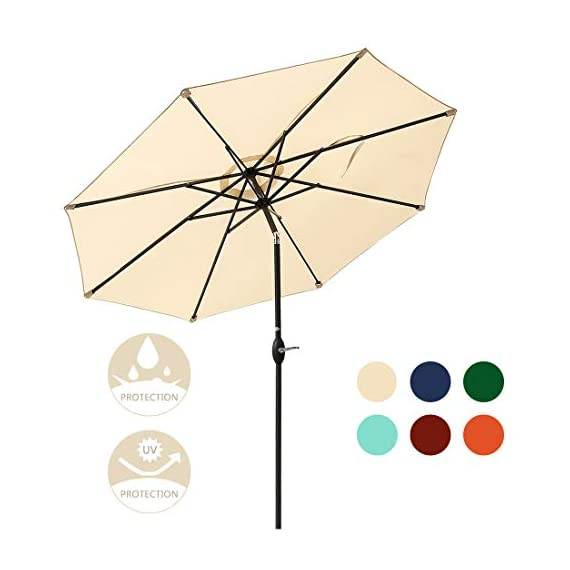 JEAREY 10 Ft Offset Patio Cantilever Umbrella Outdoor Market Hanging Umbrellas & Crank with Cross Base, 8 Ribs (Beige) - Premium 100% Polyester Fabric - Made of anti-UV 100% POLYESTER FABRIC that can be block up to 98% of harmful UV rays.The patio umbrella surface fade resistant,long lasting and waterproof.Top ventilated cover makes the wind pass through easier. Durable and sturdy frame - All-iron umbrella bones and 8 sturdy heavy-duty ribs are both powder-coated against rust and corrosion for long-term use.They can provide stronger support than the general frame. Simple Operation and Unique Design - Operate with crank lifting system for your easy and quick use.Easy-slide and lock operation system can keep away from the hot sunlight. - shades-parasols, patio-furniture, patio - 41wtDU12%2B2L. SS570  -