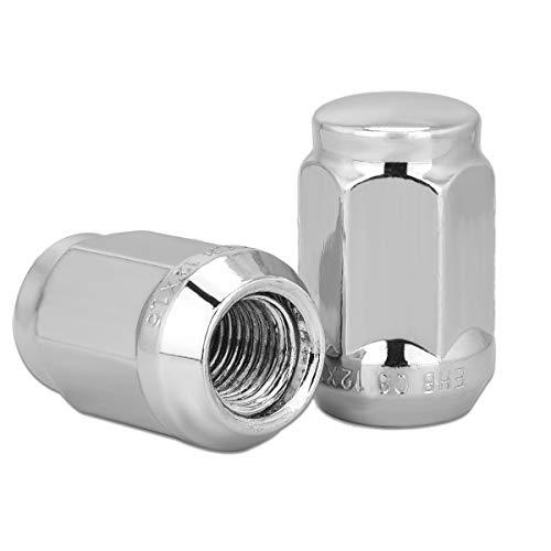 HONGNAL Wheel Lock Nuts 21133HT Bulge Acorn Closed End Seat Lug Nuts M12 x 1.50 - Pack of 20 Car Chrome Wheel Lug Nut Set with Key - Silver