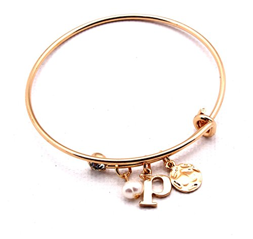 Tag Envy Monogram Initial Adjustable Wire Bangle Charm Bracelet Letter P