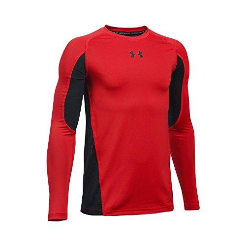 Under Armour Boys' HeatGear Armour Up Long Sleeve, Red/Black, Youth X-Large