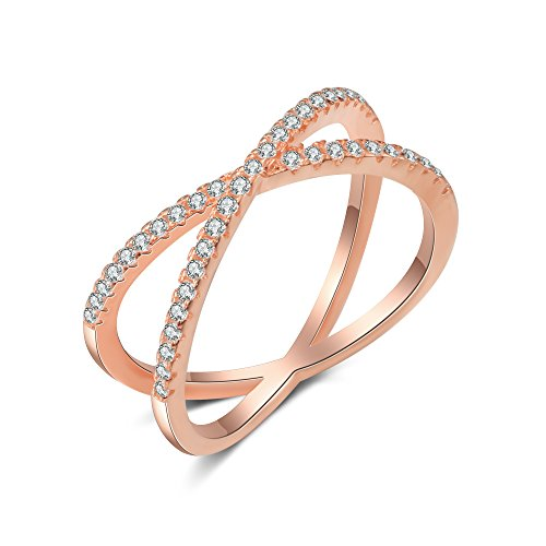 X Ring Sterling Silver, Cubic Zirconia X Criss Cross Ring Women, Size 6-8 (Rose-Gold-Plated-Silver, 7) by SISGEM