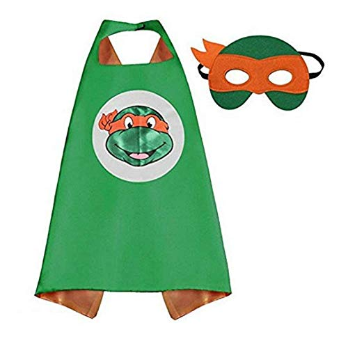 Bek Brands TMNT Ninja Turtles Michelangelo Superhero Cape and Mask Set | Dress up Satin Cape and Felt Mask ()