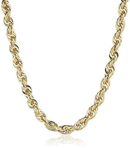 Mens-14k-Yellow-Gold-Hollow-Diamond-Cut-Rope-Chain-Necklace-25mm