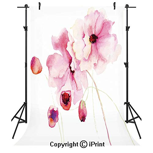 Watercolor Photography Backdrops,Refined Light Pink Flowers Hand Drawn with Brush Marks Petals Nature Art Decorative,Birthday Party Seamless Photo Studio Booth Background Banner 5x7ft,Magenta Pale Pin