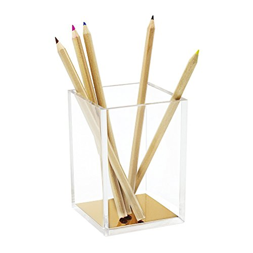 Acrylic Pencil and Pen Holder, HBlife Gold Desktop Stationery Organizer Modern Design Office Desk Accessory