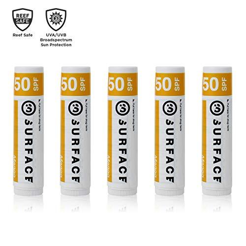 Surface Mango Lip Balm with SPF 30 & Vitamin E - Reef Safe, Broad Spectrum UVA/UVB Protection - Petroleum, Paraben & Gluten Free - 5 Pack