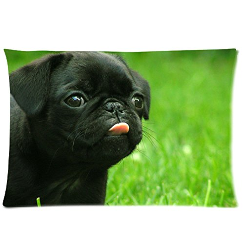 """InterestPrint Custom Black Funny Pug Dog Rectangle Pillowcase Standard Size 20""""x30"""" Twin Sides, Lovely Animal Puppy Dog Pillow Case Cover Decorative"""
