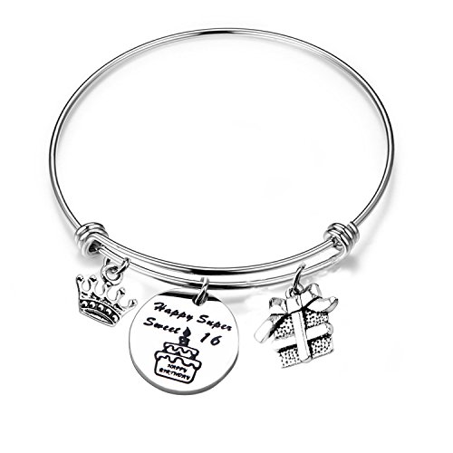 RQIER Birthday Gifts for Her Expandable Birthday Bracelet Bangle,12th Sweet 16 18th 21st Bangle Gift, Ideas (16th -