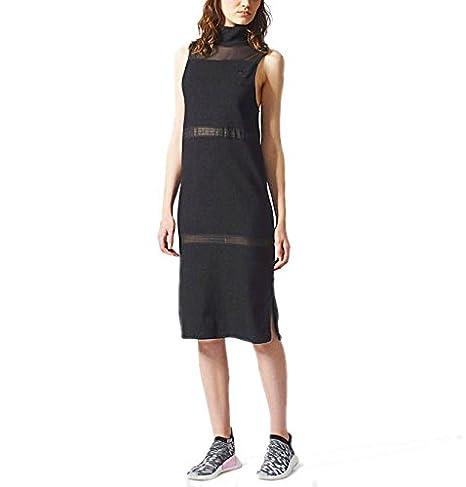 053075a63e50 adidas Originals Black French Terry Turtle High Neck Towelling Midi Dress  (Small/Medium)