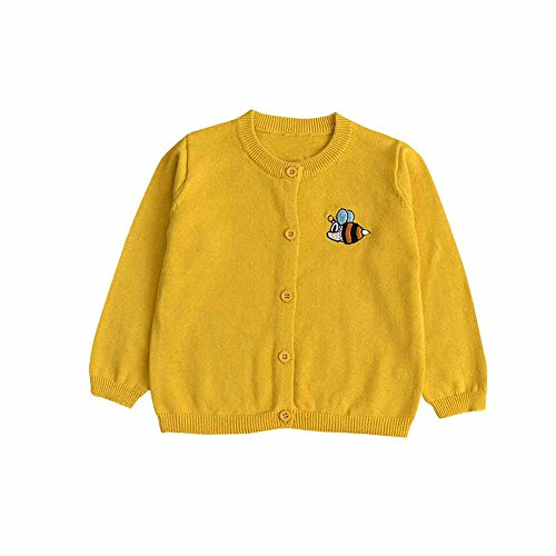 TONSEE Toddler Boys Girls Knitted Cardigan Button up Sweaters Cardigan Tops (6Months, Gold&Bee)