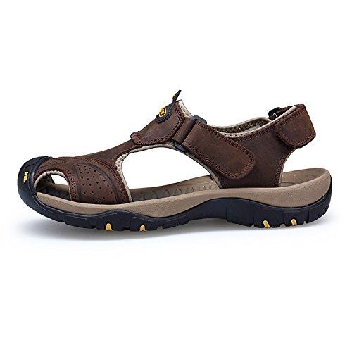Sandali Pelle Da Chiusi Estivi Coffee Walking Da Uomo Walking Esterno Trekking Sandali Shoes Calzature Sportivi HGDR Da Uomo In 7qBX487w