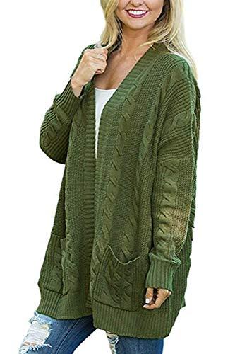 D'hiver Oudan Femmes large coloré Cardigans Avec Baggy Manteaux Taille Poches Twist Xxx Occasionnels Vert Cardigan Gris UUEqdrxw6