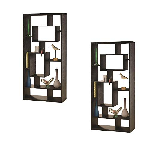 (Set of 2) Asymmetrical Cube Bookcase in Black Finish