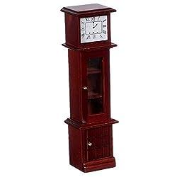 Dollhouse Miniature 1:12 Scale Mahogany Grandfather Clock #T3798