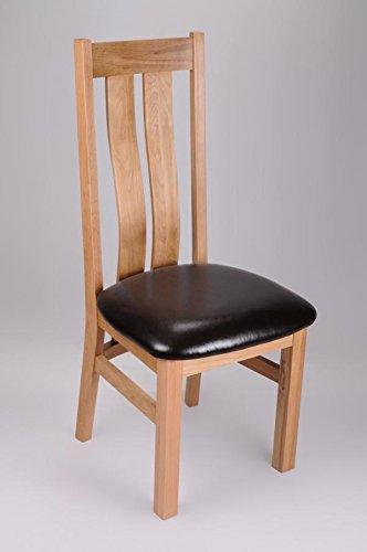 Georgia Schokoladenbraunem Leder Stuhl, Eiche, 2 Stück