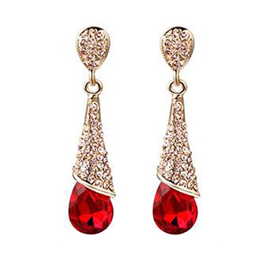 Ameesi Women's Chandelier Waterdrop Crystal Earrings Cubic Zirconia Ear Stud Ear-clip - Red - Screw Earrings Clip Rhinestone