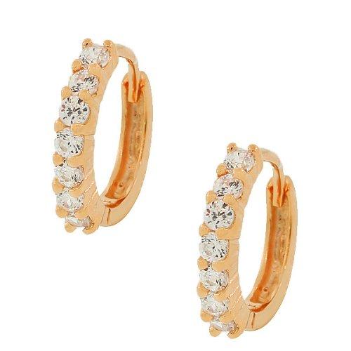925-Sterling-Silver-Rose-Gold-Tone-White-CZ-Hoop-Huggie-Earrings