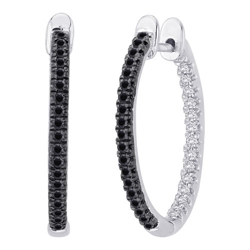 Black and White Diamond ''In and Out'' Hoop Earrings in Sterling Silver ( 1/3 cttw) by KATARINA