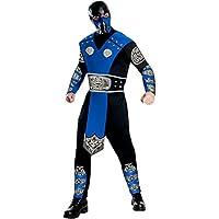 Mortal Kombat Disfraz y máscara sub-cero para adultos, azul /negro, grande