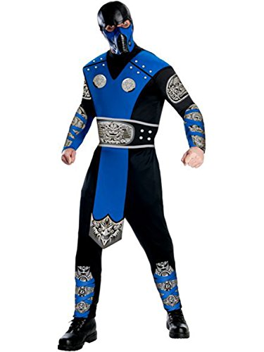 Mortal Kombat Adult Sub-Zero Costume And Mask, Blue/Black, Medium -
