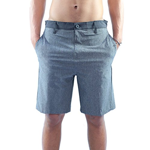 Striped Seersucker Bermuda Shorts (Burnside Mens Hybrid Shorts 4 way stretch 34, Char)