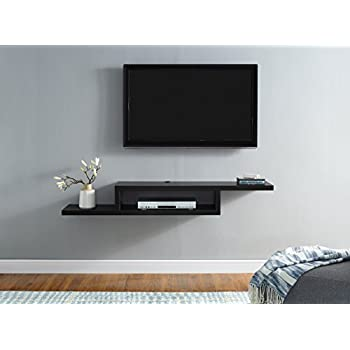 south shore city wall mounted media audio video console black oak home kitchen. Black Bedroom Furniture Sets. Home Design Ideas