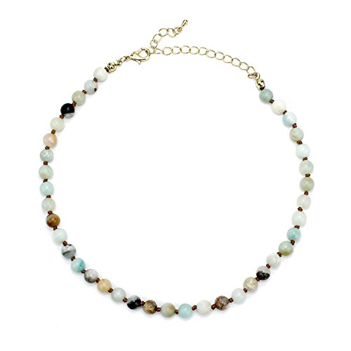 POMINA 6mm Amazonite Semi Precious Stone Beaded Short Necklaces -