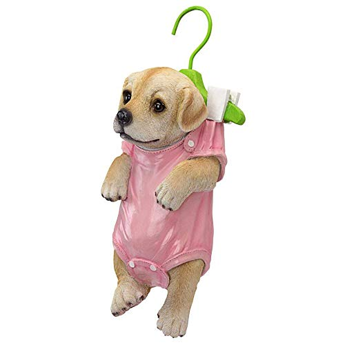 Design Toscano QM2928300 Hanger Hound Labrador Retriever Hanging Puppy Dog Statue, Full Color