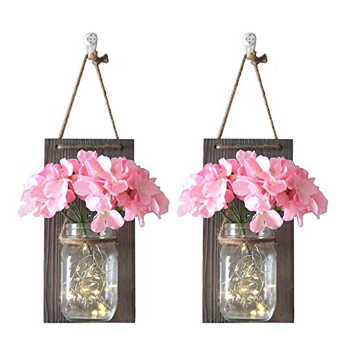 - CHBKT 2 Pack Mason Jar Sconces Wall Decor, Rustic Wall Sconces 16 oz Jar with 20 Bulbs Fairy Lights and Pink Silk Hydrangea Flowers, Wrought Iron Hooks, Home Decor