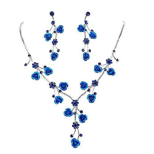(Faceted Metal Rose & Crystal Rhinestone Necklace & Earring set for Bridal, prom (Blue))