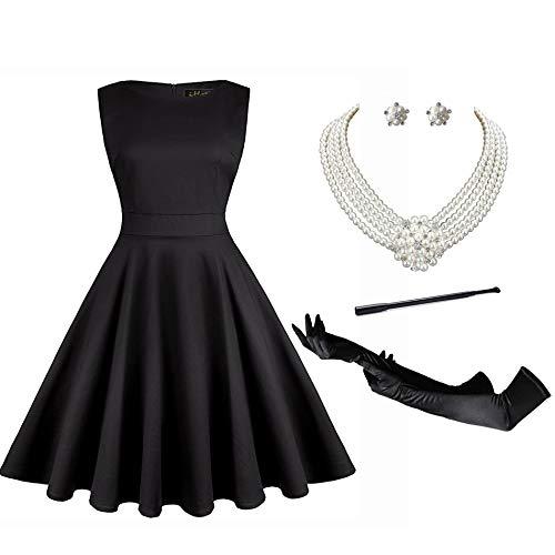 Audrey Hepburn Holly Golightly Breakfast at Tiffanys Costume 50s Dress Sleeveless Tea Dress and Jewelry Set (M) ()