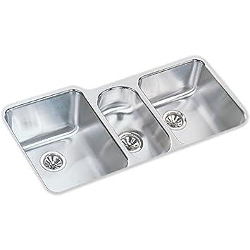 elkay eluh4020dbg harmony stainless steel kitchen sink lustrous highlighted satin 3 basins elkay eluh4020dbg harmony stainless steel kitchen sink lustrous      rh   amazon com