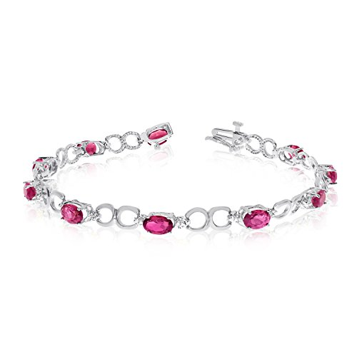 Diamond Open Link Tennis Bracelet (3.60 Carat (ctw) 14k White Gold Oval Red Ruby and Diamond Open Link Tennis Bracelet - 7