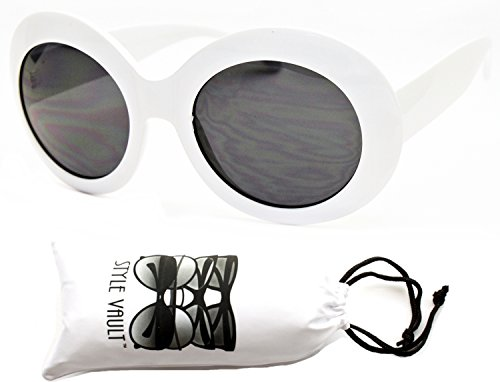 V3037-VP Style Vault Thick Bold Oversized Round Sunglasses (B1200F White-dark)