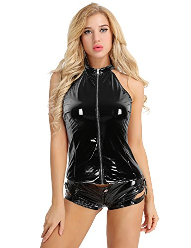 ACSUSS Women's Shiny Faux Leather Halter Zipper Backless Punk Vest Tank Tops Black - Leather Halter Vest