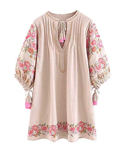 R.Vivimos Women's Autumn 3/4 Sleeve Cotton Linen Floral Embroidery Casual Tunic Dresses (Medium, Beige)