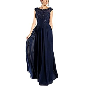 8717a727d59aa6 Veilace Women s Navy Mother of The Bride Dress A Line Scoop Cap Sleeve  Beads Mother of the Groom Dress