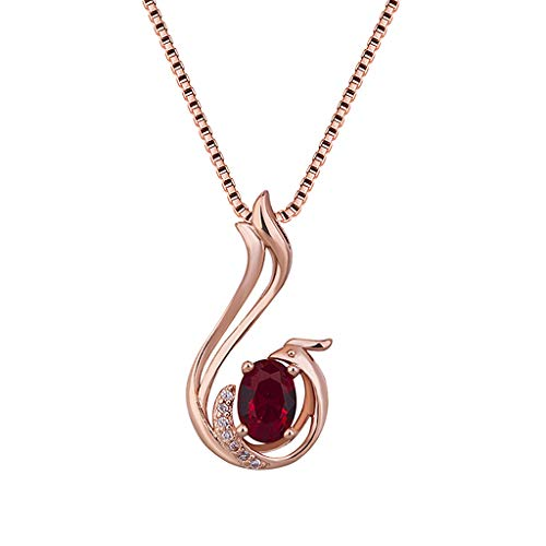 18k Red Gold Necklace - WONdere Women Rose-Plated 18K Gold Phoenix Red Tourmaline Colored Gemstone Silver Necklace