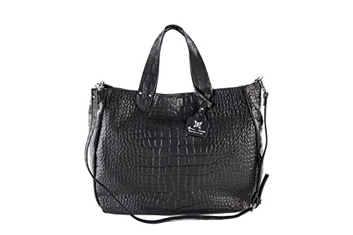 Cm Made In Real Anna Shopper Leather Italy embossed Bag Cocco Genuine Cecere 40x34x16 a7wWfWR0qO