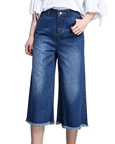 Taglie Forti Zhuikuna Cropped Donna Zampa Con Blu Jeans A Grezzo Caviglia Alla Orlo 0nT8xrgTqw