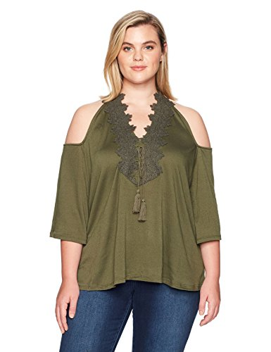 Love Scarlett Women's Plus Size Pullover 3/4 Sleeve Topcold Shoulder Crochet Trim Neck, Military Green, 1X