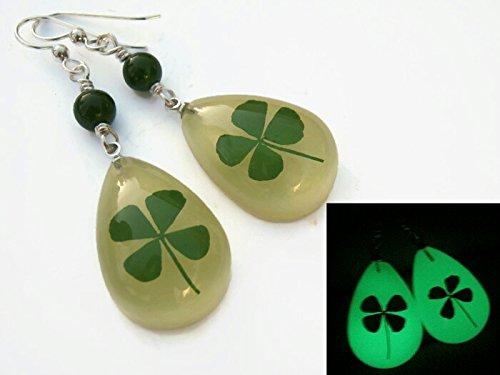 18e3d60a8e9e3 Amazon.com: Glow In The Dark Four Leaf Clover Earrings, Sterling ...