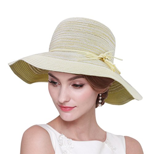 Women Girls BOHO UPF50+ Wide Brim Crushable Summer Beach Sun Visor Straw Hat Cap