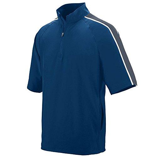 Augusta Sportswear 3788 Men's Quantum Short Sleeve Wind Shirt, XXX-Large, Navy/Graphite/White
