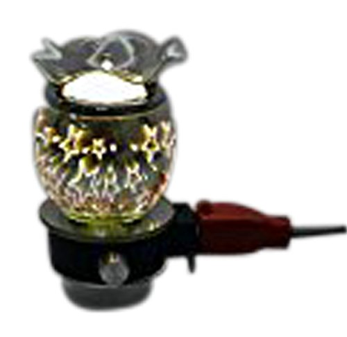 L&V Electric Glass Plug In Night Light Wax Burner Oil Warmer 3 D Effect Stars Design (Star Electric Oil)