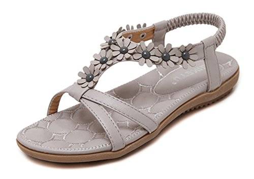 Aisun Damen Süße Blumen T Spange Offene Zehe Weiche Sohle Ohne Verschluss Sandalen Grau