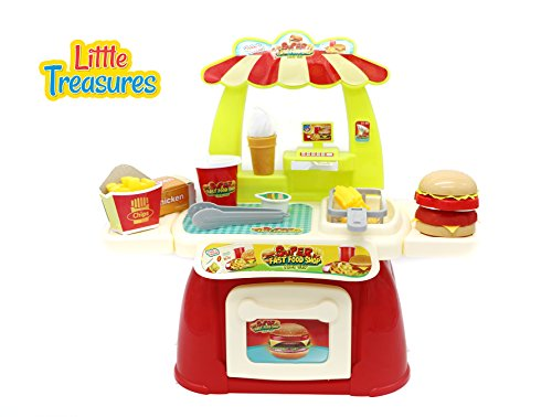 Fast Food Shop Play Set – a luxurious mini fast food restaurant set, consists of 28 pieces for 3+ agers; a stand and attached cash register, the food includes fried chips, sauce, burger, and drink